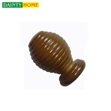Home Decor Plating Cheap Wooden Curtain Rod Finial for Wooden Blind