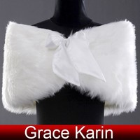 Grace Karin Fashion Ladies Faux Fur Winter White Wedding Bridal Shawl Wedding Jacket CL2615