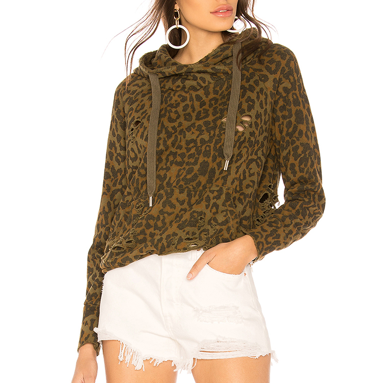 Autumn Winter 2018 Women <strong>holes</strong> long sleeve leopard print hoodie