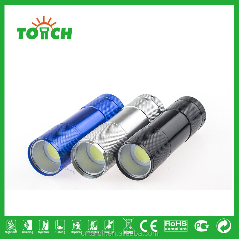 Super durable mini COB led flashlight portable waterproof 3*AAA battery led flashlight wholesales