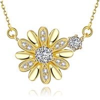 24 k gold plated Flower pendant necklace chains wholesale
