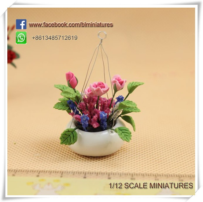 1/12 Scale Doll House Pink Roses Hanging Pot Fairy Garden Miniatures Clay Flower Pots