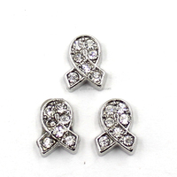 Crystals Floating Locket Charms Wholesale Awareness Cancer Ribbon Charms