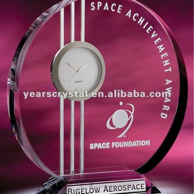 neo crystal glass clock award(R-1411)