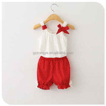 2015 summer new kids sling cotton suit baby girl tank tops with bow bloomers jumpsuits garment factory OEM supply