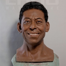 famous Brazil football player lifesize wax figure of Pele