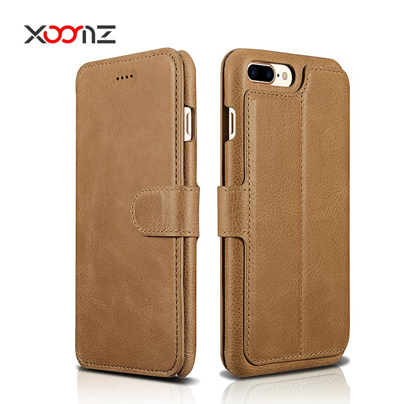 2017 New Flip Genuine Leather Wallet Phone Case for iPhone 7 7 Plus Case Cover with Credit Card Slots