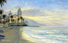 Romantic beach landscape oil painting,handmade oil painting for decor