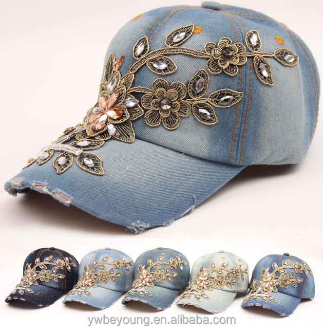 Wholesale fashion crystal flower women washed denim baseball <strong>caps</strong>