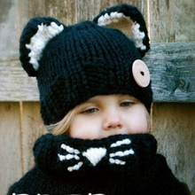 Wholesale fashion new high quality children winter warm hats acrylic black handmade girl knitted hat with two lovely ears