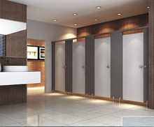 Compact laminate cubicle toilet partition with hardware
