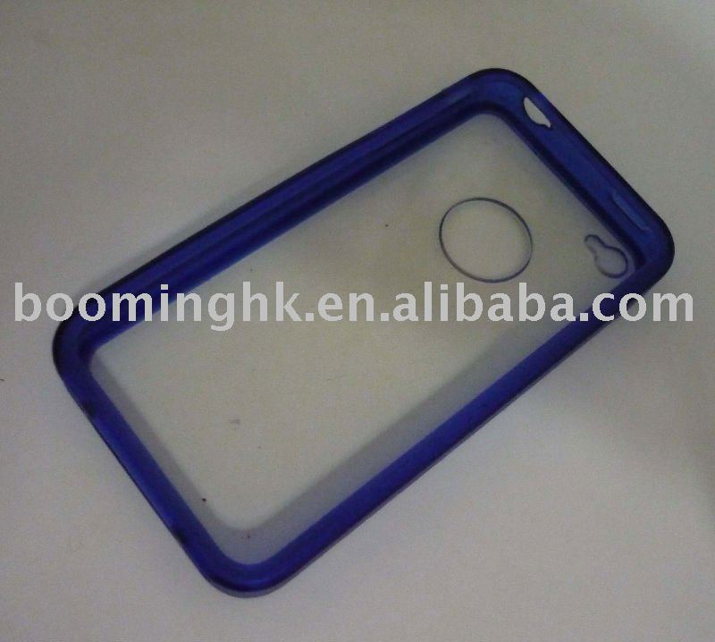 For new iphone 4 plastic cases with colorful rubber frame