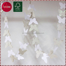 White Butterfly Letter Banner Garland Artificial Plant for Party Decoration