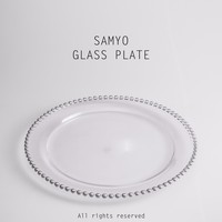 Samyo Glassware Manufacturer silver beads glass charger plate