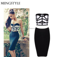wholesale fashion design cocktail 2 piece sexy dresses , 2016 summer club party women bandage dress with plus size