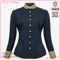 women's trendy style new design blouse with peter pan collar