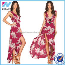 Women Elegant Fashion Bohemian Style Summer Chiffon Beach Party High Split Dress Sexy Girls Deep V-Neck Floral Print Maxi Dress