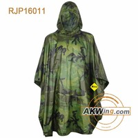 Polyster PVC Jungle Camouflage Army Rain Poncho Used For Tents