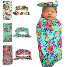Baby Warm Blanket Flower Elastic Headbands Sets Photography Props Newborn Baby Swaddle
