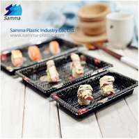 Plastic japanese tray to go sushi disposable food container, custom printed serving food tray sushi packaging box with covers