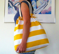 Stripe design cotton bag round rope handle canvas beach bag