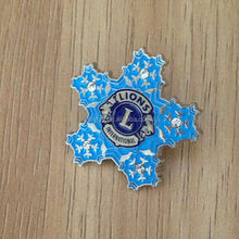 wholesale five-pointed star shape enamel lion badge with rhinestone