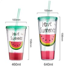 Promotional Gifts Double Wall Clear Hard Plastic Cup With Straw And Lid