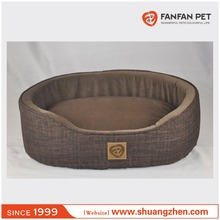 Oval foam soft velvet pet dog bed basket