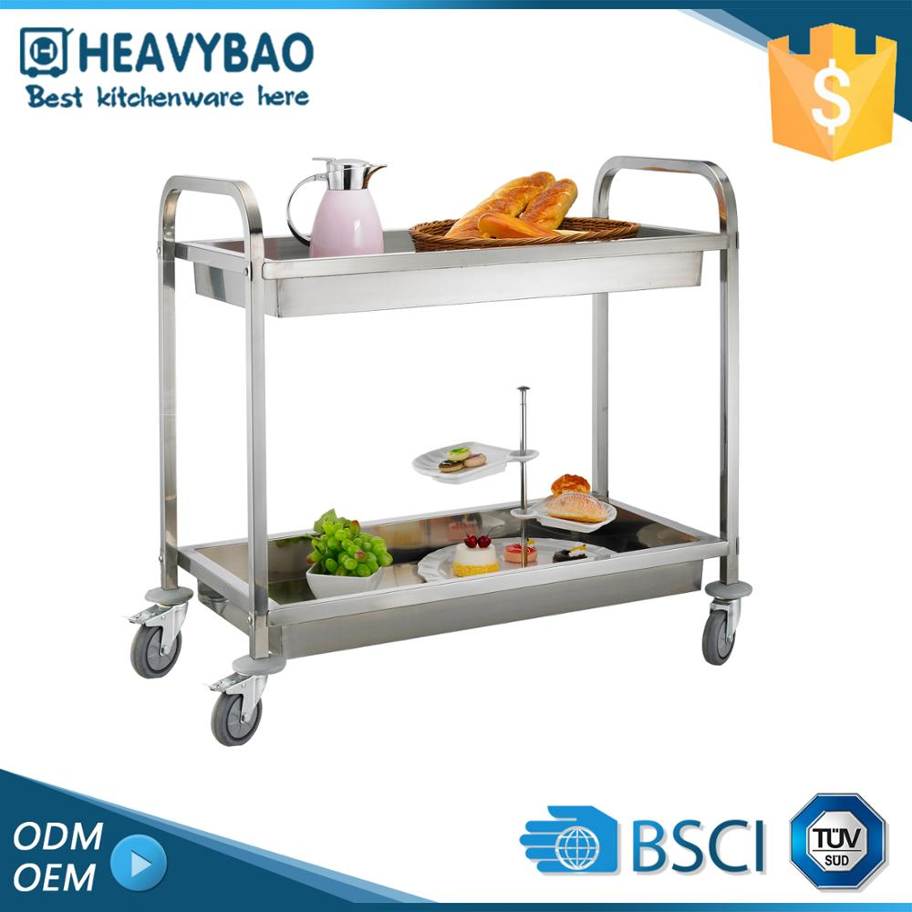 Quick Lead Stainless Steel Knocked-down Kitchen Utility Mobile Pizza Tray Trolley Food Cart For Sale