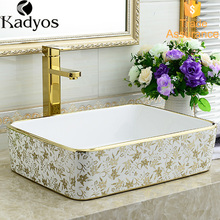 New WC hand wash basin painted counter top gold bathroom sink