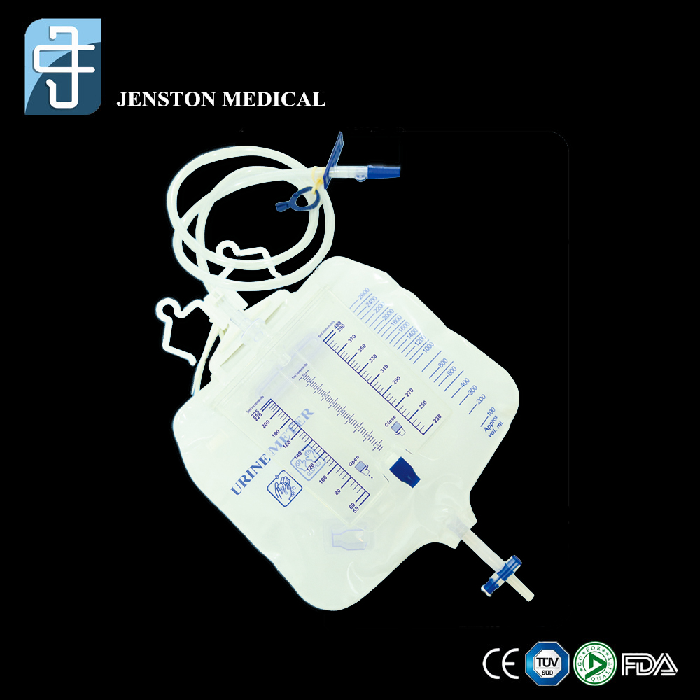 Urine meter drainage bag with t valve
