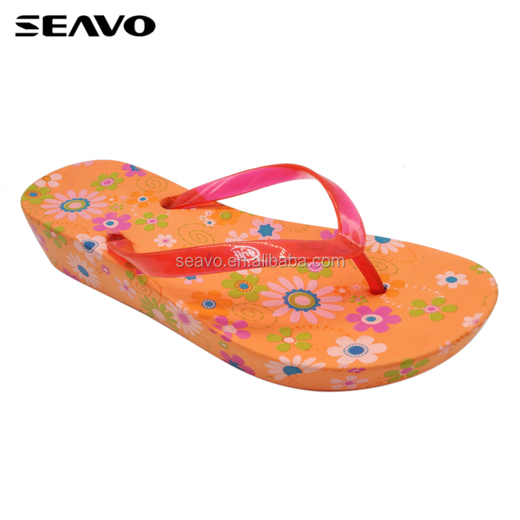 SEAVO SS18 cheap customize printed soft wedge pvc sole orange women flower beach flip flops