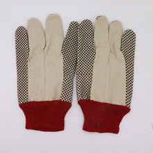 PVC dots on palm red cuff cotton canvas garden gloves