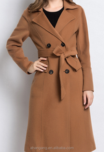 High quality winter long cashmere wool women trench coat with belt