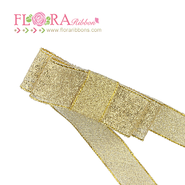 Factory direct selling cheap decoration gold metallic ribbon bows