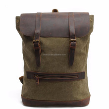 Washed Canvas Camping hiking man backpack bag with cowhide leather cover
