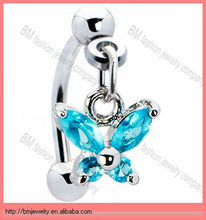 Fashion surgical steel eyebrow ring dangle with shiny butterfly rhinestone eyebrow rings jewelry