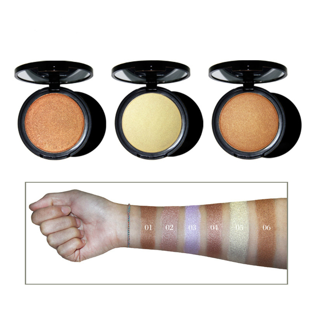 Private Label No logo 12 colors Beauty Cosmetic Waterproof Face Highlighter Glitter Powder Foundation