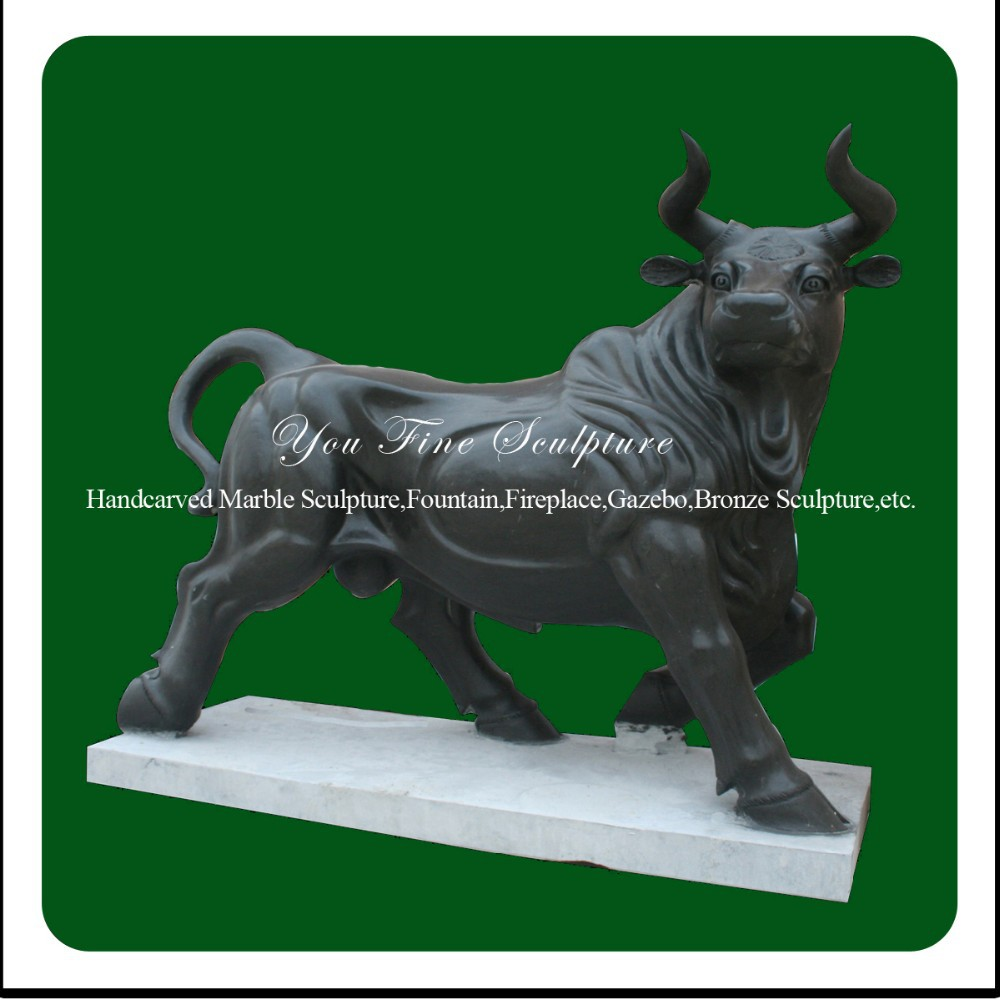 Decorative Natural Carved Outdoor Marble Bull Sculpture