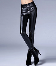 Tall waist trousers sexy pants pu Female full long trousers women pu pants