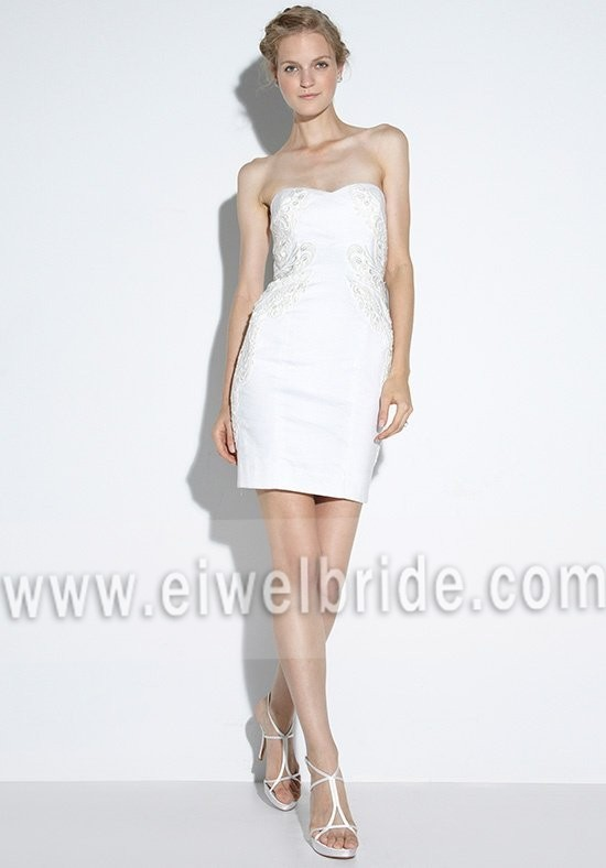 S671 Strapless Appliqued Sleeveless Sheath Tight Sexy Short Wedding Dresses