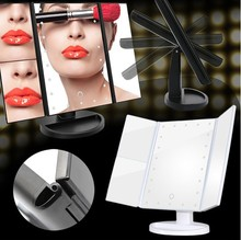 Gold color foldable standing led lighting touch screen control tabletop vanity mirror three way tri-fold lighted desktop makeup