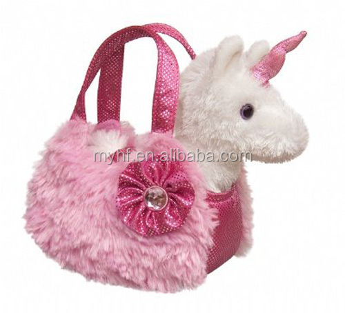 Novelty gifts general girl's pink bag carry mini unicorn toy