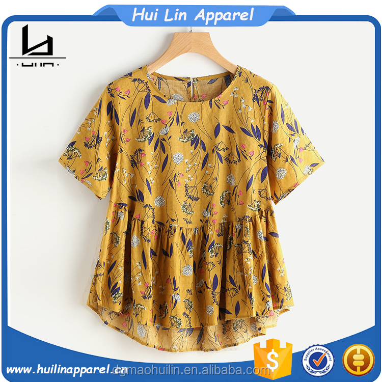OEM service round neck contrast bird print top open hot sexy girl photo chiffon blouse women top