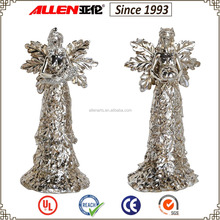 6.1 inch two silver standing cheap polyresin wing angel figurines for Thanksgiving