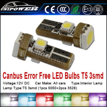 led car light,t5 Interior light, led auto bulb T5 3smd(1pcs 5050-3chips+2pcs 3528)