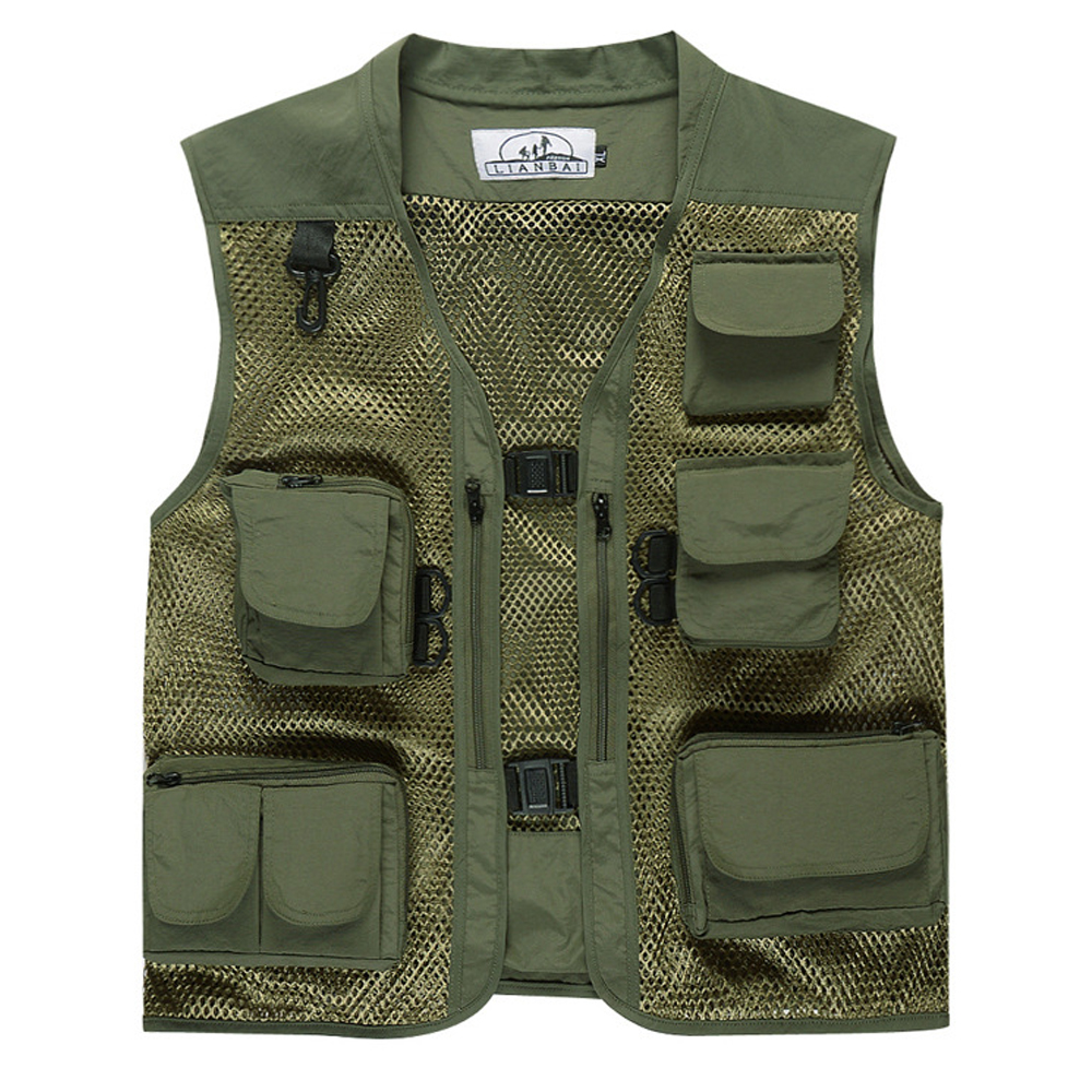 Three-dimensional multiple pockets for fishing photographer mountaineering vest with many pockets