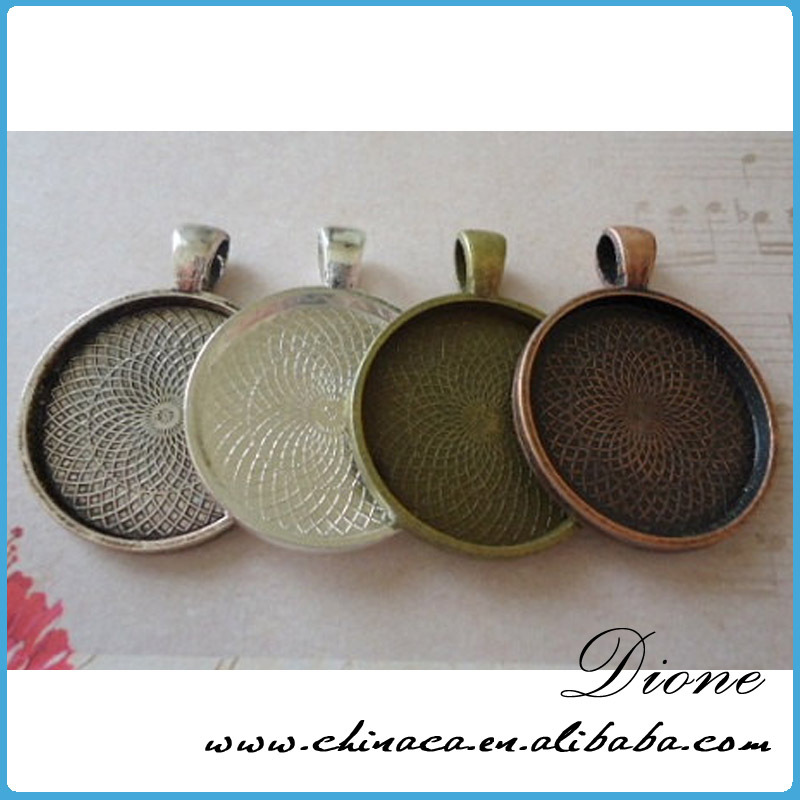 jewelry gold round blank antique brass plated pendant tray