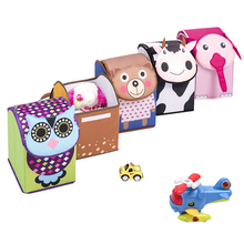 Cartoon Animal Shape Polyester Fabric Folding Kids Toy Storage Box With Lid