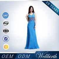 OEM Service Beaded Strapless Sleeveless Royal Blue Elegant Chiffon Evening Dresses Made in China